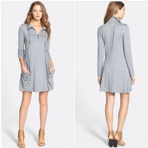 KENSIE Drapey French Terry Dress Zip SHORT SLEEVE